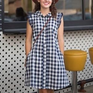 Dear Creatures Cotton Dress Navy Blue Checker M